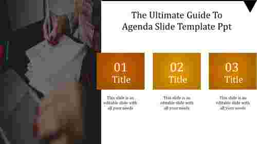 A one noded agenda slide template PPT